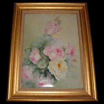 Large Antique Limoges France Hand Painted French Porcelain Framed Plaque Roses Ca. 1891