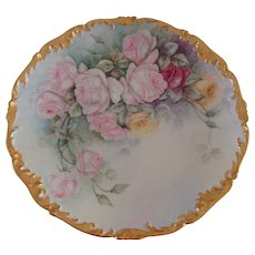 Antique Limoges France Hand Painted Porcelain Charger Tray Plaque Pastel Roses Ca. 1892