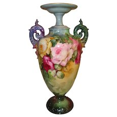 Spectacular Antique American Belleek Vase Urn Gorgeous Hand Painted Roses Artist Signed