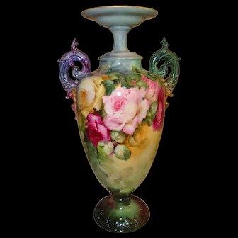 Spectacular Antique American Belleek Vase Urn Gorgeous Hand Painted Roses Artist Signed