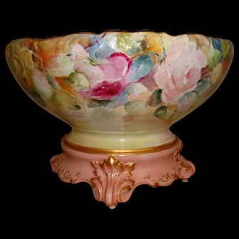 Spectacular Antique Limoges France Hand Painted Porcelain Punch Bowl Gorgeous Roses Ca. 1892