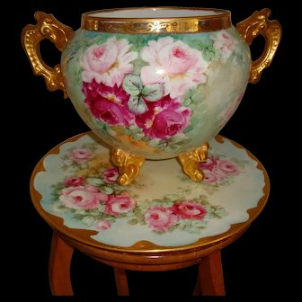 Superb Antique Limoges France Hand Painted Porcelain French Jardiniere Vase Urn with Matching Tray