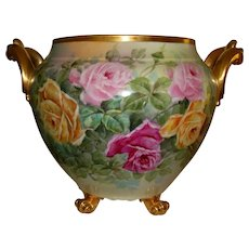 Antique Limoges France French Hand Painted Porcelain Jardiniere Vase Urn Gorgeous Roses Ca. 1900