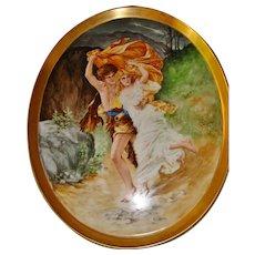 "Limoges France Antique Hand Painted 18.5""  Porcelain Plaque Tray Portrait Titled The Storm Artist Signed Dated 1910"