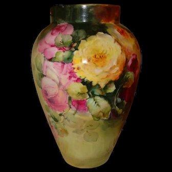 Large Antique Limoges France Hand Painted Porcelain French Vase Roses