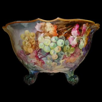 Antique Limoges France Hand Painted Large Porcelain Punch Bowl Ca. 1900