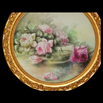 Spectacular Antique Limoges France Large Porcelain Plaque Framed Ca. 1891