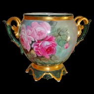 Beautiful Ornate Antique Limoges France Jardiniere Vase Urn Hand Painted Roses