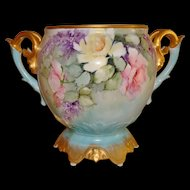 Wonderful Antique Limoges France Hand Painted Porcelain Ornate Jardiniere Vase Urn Roses & Lilacs