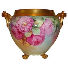 Amazing Antique Limoges France French Hand Painted Porcelain Jardiniere Vase Urn