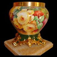 Beautiful Limoges France Hand Painted French Porcelain Jardiniere with ornate base Gorgeous Roses