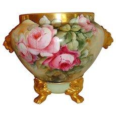 Wonderful Antique Hand Painted Porcelain Jardiniere Urn Vase Gorgeous Roses Artist Signed