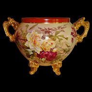 Fantastic Antique Limoges France Large Hand Painted Porcelain Ornate Jardiniere Vase Roses Orchids