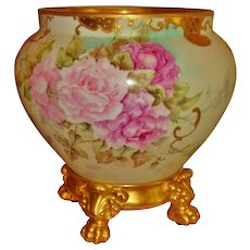 Gorgeous Hand Painted Museum Quality Antique Limoges France Porcelain Jardiniere Vase Urn Spectacular Roses
