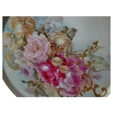 Beautiful Limoges France Hand Painted Porcelain French Tray Plaque for Jardiniere Punch Bowl or Vase