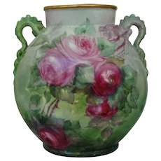 Antique Limoges France Hand Painted Porcelain Dragon Handle Vase Roses