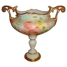 Spectacular Antique American Belleek Vase Urn Gorgeous Hand Painted Roses
