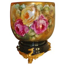 Superb Huge Antique Limoges France Jardiniere Vase Urn Planter Spectacular Roses