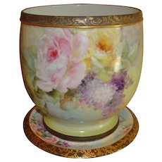 Museum Quality Antique Limoges France Hand Painted Porcelain Jardiniere planter Superb Roses and Lilacs Ca. 1890's