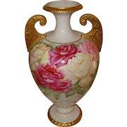 Ornate Antique American Belleek Gorgeous Handled Vase Urn with Roses Ca. 1880's