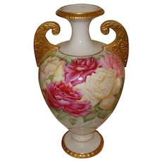 Ornate Antique American Belleek Gorgeous Handled Vase Urn with Roses Ca. 1880's
