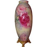 Spectacular Antique American Belleek Large Floor vase Ca. 1906 Hand Painted Roses