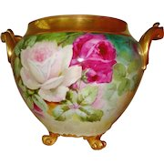 Superb Antique Limoges France French Hand Painted Porcelain Jardiniere Vase Urn Gorgeous Roses