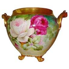 Superb Antique Limoges France French Hand Painted Porcelain Jardiniere Vase Urn Gorgeous Roses