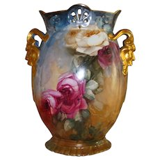 Spectacular Antique Limoges France Gorgeous Unique Rare Mold Hand Painted Porcelain Mantle Vase Victorian Painted Roses