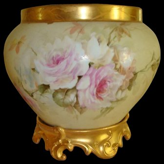 Antique Limoges France Hand Painted French Jardiniere with ornate base Roses.