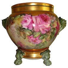 Beautiful Antique Limoges France Hand Painted French Porcelain Jardiniere with matching base Gorgeous Roses