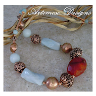 Sailor's Delight: Amazonite & Copper Chunky Necklace w/ Carnelian Focal