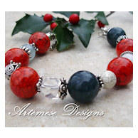 Tannenbaum: Red Magnesite, Ocean Jasper, Crystal & Snow Quartz, Aquamarine & Silver Chunky Bracelet