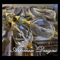 Bel Air: Crystal Quartz, Prehnite, Vermeil & Gold-Filled Earrings