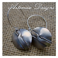 Textured Folded Shield Earrings in Sterling Silver