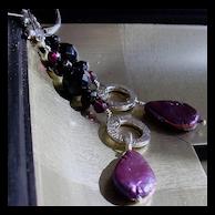 Powerhouse: Black Onyx, Garnet, Purple Cultured Pearl & Sterling Silver Earrings