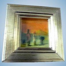Vintage Italian Artist Painted Painting & Frame 1:12 Dollhouse Miniature