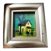 LOVELY Vintage Artist Painted Painting & Frame 1:12 Dollhouse Miniature