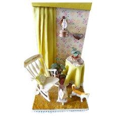 Vintage Artist Made 1:12 Roombox Diorama Dollhouse