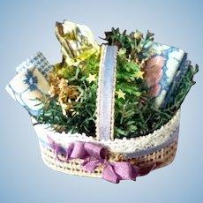 Wonderful Artist Made CRAFT Basket 1:12 Dollhouse Miniature