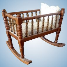 Wonderful 1:12 Artist Made ROCKING CRADLE Dollhouse Miniature