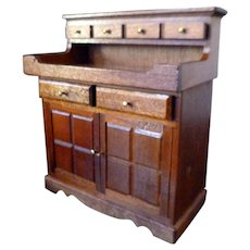 Vintage Handcrafted Cherrywood DRY SINK CABINET 1:12 Dollhouse Miniature 1:12