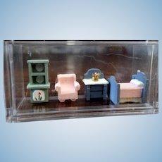 Vintage Artist Made 1:144 MICRO Scale Bedroom Dollhouse Miniature