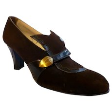 Original Late 1910s-1920s Brown Suede & Leather Shoes Pumps Size 6