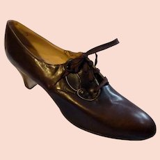 Original 1920s Brown Leather Lace Up High Heel Shoe Size 8
