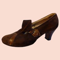 Original 1920s Brown Suede & Leather Women's Shoes Size 6 1/2