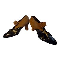 Original 1910s Edwardian Tan Suede & Black Leather Pumps Size 5