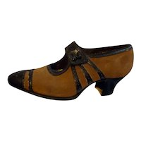 Original 1920s Brown Suede & Leather Women's Shoes Size 5
