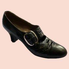 Original 1920s Black Leather Shoes Pumps Size 6 1/2 Excellent Condition