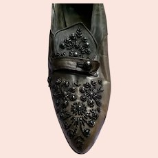 Original 1910s-1920s Jet Beaded Women's Leather Shoes Size 5